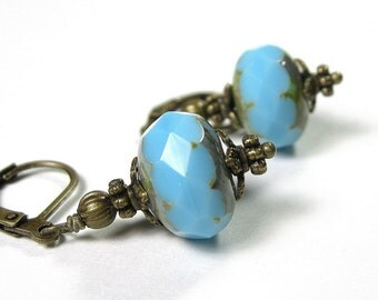 Vintage Style Azure Blue Czech Glass Earrings, Sky Blue Jewelry, Rondelles, Cerulean Beaded Antiqued Brass Earrings, Affordable Gift Ideas