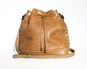 Tan Leather Purse Vintage 80s Bucket Bag Shoulder Bag Small Crossbody