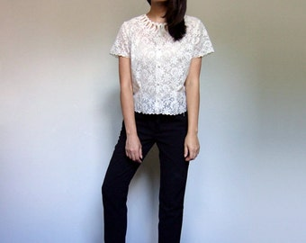 Sheer Lace Blouse Women 1960s Short Sleeve Button Up Top 60s Ivory Shirt - Medium to Large M L