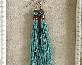 Bohemian Fringe Earrings in Aqua