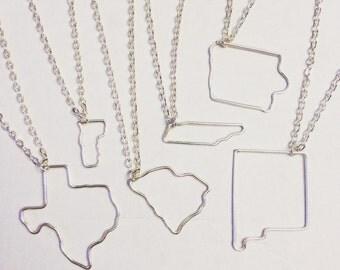 Wire Worked American State Silver Plated Necklace USA Missouri, Texas, South Carolina, Iowa, TN, NM, Etc.