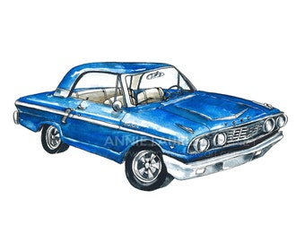 """Vintage Car - 8x10"""" Watercolor Print - Blue Ford Mustang"""