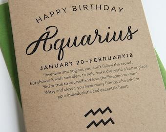 Letterpress Astrology Birthday Card - Aquarius
