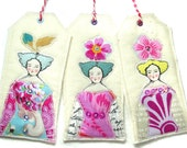Fabric Gift Tags, Textile Art ornaments, Fancy Woman Prints, Decorated Art Tags, Three Tag Set