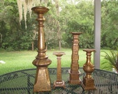 large candle holders / set of 4 gold candle holders was 85.00 now 65.00