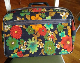 flower power travel bag luggage overnight tote case suitcase mod sixties 60s