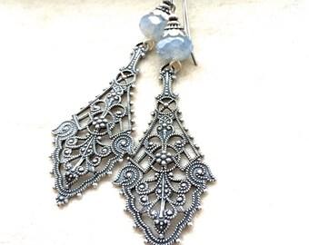 Silver filigree drops, Silver ox drop earrings, light blue czech glass drops, silver blue dangles, oxidized silver filigrees, silver drops