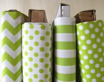 Lime Green Fabric Fat Quarter FQ Bundle  - Small Dots, Small Stripes, Small Chevrons - from Riley Blake Designs- 1 Yard Total