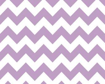Lavender Purple Medium Chevron Fabric by Riley Blake Designs - By the Yard - 1 Yard - Zig Zags - Purple and White