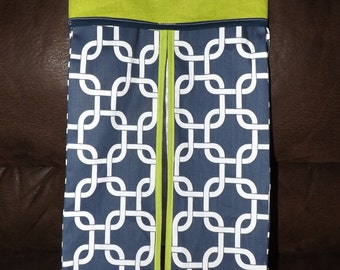 crib Diaper holder stacker Navy and lime baby