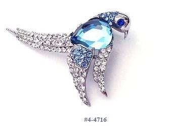 FREE SHIP Three Shades Of Blue Pretty Bird Brooch (4-4716)