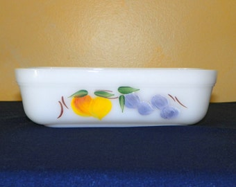 Anchor Hocking Fire King Hand Painted Fruit Loaf Pan, Beautiful Finish, Milk Glass Baking Dish with Grapes and Pears Marked Fireking