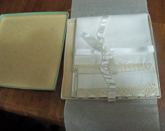 very fine thin antique linen dish towels still in box