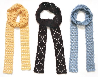 Eyelet Skinny Scarves - PDF Crochet Pattern - Instant Download