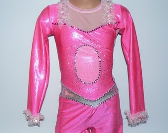 Pink Panther Inspired Figure Skating Costume. Dance Costume. Pink Panther Inspired  Unitard. Dancewear. SIZES  2T - Girls 11