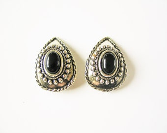 Costume onyx earrings: Cool engraved oxidised pewter coloured silver tone teardrop shaped clip on statement earrings with faux onyx stones