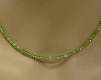 Peridot Rondelle Necklace in Sterling Silver