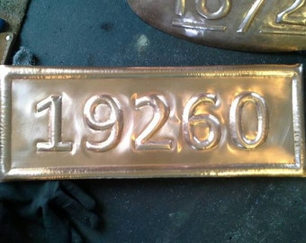 Five Numeral Hammered Copper House Number