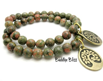 One Unakite Tree of Life Charm Bracelet with Pouch