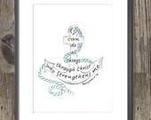 Bible Verse art print, scripture design, hand lettered typography, wall art decor, nautical, anchor