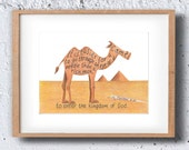 Camel, Bible Verse art print, scripture design, hand lettered typography, wall art decor