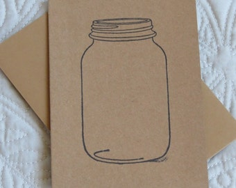 Paper Note Card, Hand Stamped Empty Canning Jar, Made by Kids 4 Kids, Charity Item