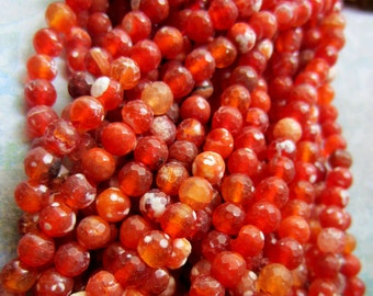 6mm Natural Fire Agate beads red orange gemstone beads faceted 15 inch strand  Madagascar jewelry supply G3050