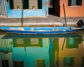 Burano Photograph, Italy Photography Orange Blue Boat Houses Canal Dreamy Colorful Home Decor Wall Art ita122