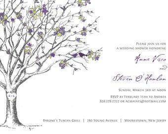 Sakura Love Birds Bridal Shower Invitation