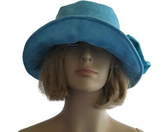 Suede Cloche Hat Turquoise