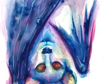 """Original Watercolor """"Hanging Bat""""  Fine Art Print"""
