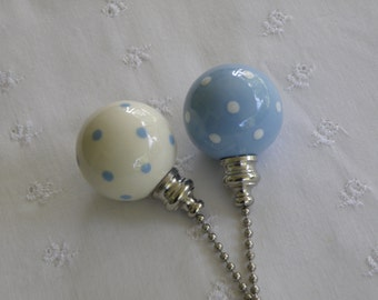 Light Blue Set of Ball Style Pottery Ceiling Fan/Light  Pulls - White Polka Dotted - Made in the USA
