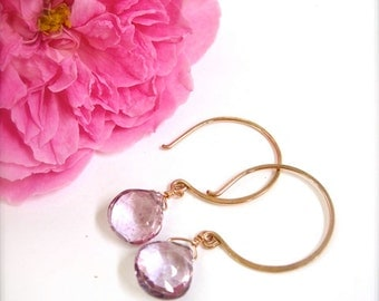 Rose gold earrings with pink quartz - Sparkly pink rose gold earrings, mom jewelry, dangle earrings, dangling, hoop earrings, made in Hawaii