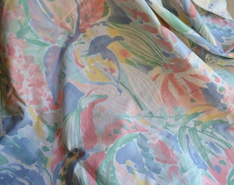 Vintage Bed Sheet - Tropical Watercolor Floral - Twin Fitted NOS