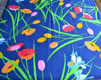 Vintage Bed Sheet - Red Poppies and Iris on Navy Blue - Twin Flat NOS