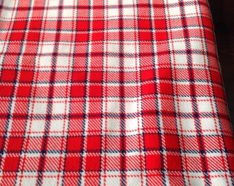 Vintage Green, Red, White, Blue Plaid Wool Fabric Yardage (M-18)