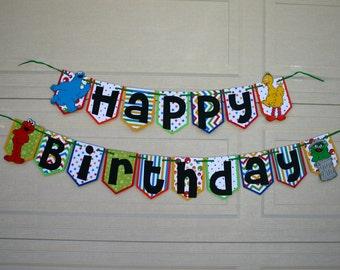 Sesame Street Birthday Banner, Character Banner, Birthday, Sesame Street, Elmo Birthday