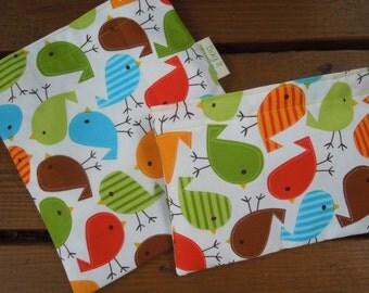 Reusable sandwich and/or snack bags - Birdies reusable sandwich bag - Fabric reusable bags set - Reusable snack bag - Birdies