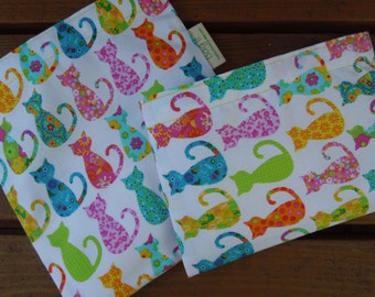 Reusable sandwich and/or snack bags - Reusable sandwich bag - Reuse snack bag - Kitty cats  -  Calico cats