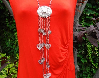 """Vintage Necklace Choker Collar Lariat Long 12"""" waterfall Hearts & Coin Medallions Retro Chic 80's  Bright Silver Runway Art Deco Statement"""