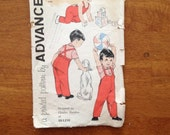 1950's advance sewing pattern #9370 little infant boys shirt overalls children size 6 months 50s