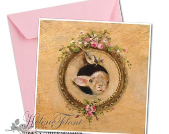 Print  carte Impression Le visiteur innatendu - Peinture mouton Agneau oiseau , cadre perlé en trompe-l'oeil, fleurs © Hélène Flont Designs