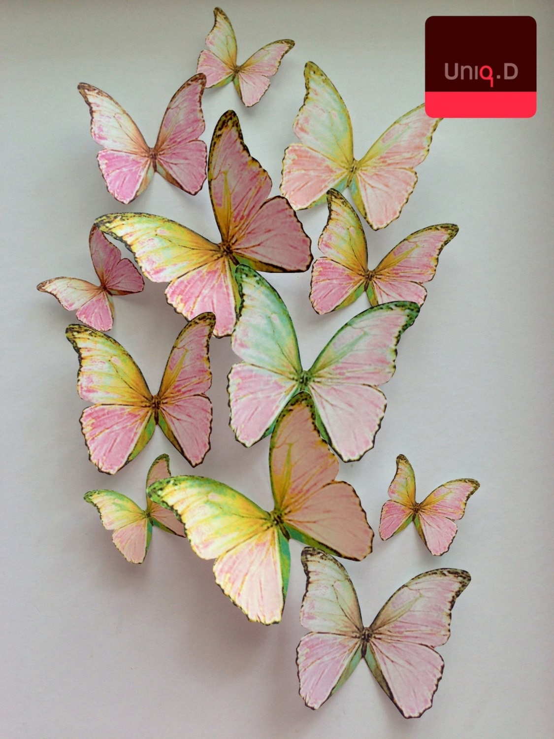 3d wall decoration 3d pink decorative butterflies wall for 3d butterfly decoration