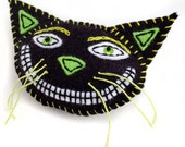 Felt Cat Brooch, black and lime hand embroidery