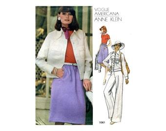 Vogue Anne Klein Bodysuit Jacket Pants Pattern 1970s A Line Skirt Short Jacket Vintage Vogue Sewing Pattern Anne Klein Vogue 1061 Bust 36
