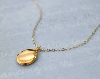 tiny gold filled locket necklace, women's jewelry, CUTE AS A BUTTON