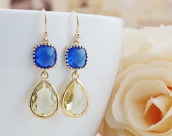 Cobalt Blue and Jonquil Glass dangle earrings drop earrings Lemon Wedding Jewelry Bridesmaid Earrings Bridesmaid gifts Bridesmaid jewelry