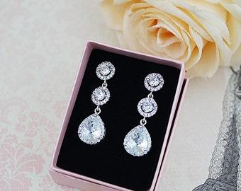 Luxury cubic zirconia Bridal Earrings Dangle Earrings Halo Style cubic zirconia connectors and cubic zirconia tear drop Earrings Wedding