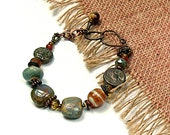 Butterscotch Mint.. Handcrafted, Coin, Asymmetrical, Glass, Artisan Bracelet/ cgb11