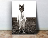 Fine Art Canvas Gallery Wrap Giclee Print Horse Mask Finished Ready to Hang Home Decor Mask Child Tie Black and White Animal Mask Wholesale